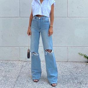 Zara Wide Leg Hi Rise Jeans